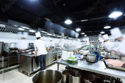 canvas print picture modern kitchen and busy chefs