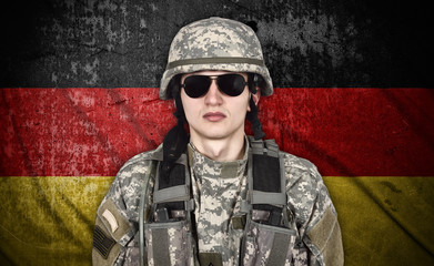 american soldier and Germany flag