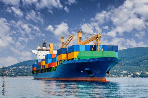 Leinwanddruck Bild merchant container ship