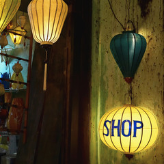 Lanterns at a Gift Shop Entrance