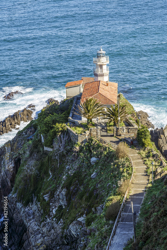 Leinwanddruck Bild Lighthouse of Cudillero, Asturias