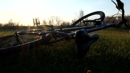 Mount bike on the grass: horizontal photo format, copy space on