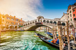 Canal Grande with Rialto Bridge at sunset, Venice, Italy - 82197218