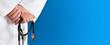 Medical background whit stethoscope blue - 82197265