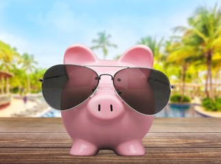 Sunglasses. Piggy Bank