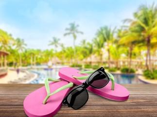 Flip-flop. Flip Flops and Sunglasses