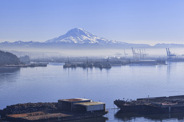 Winter smog rising over the industrial area of Tacoma