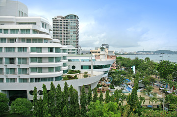 Aerial view of a hotel building and beach at pattaya, Thailand