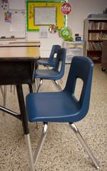 Three Desks in a Classroom