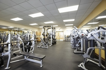 Exercise equipment in empty gym