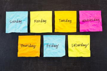 Days of Week Sticky Notes