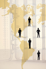 Illustration of business people on map