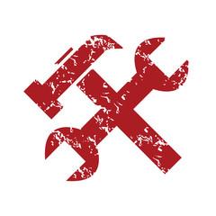 Red grunge repair logo