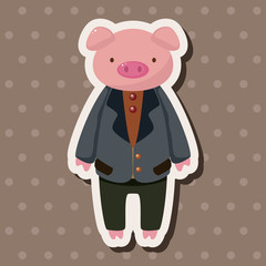 animal pig worker cartoon theme elements