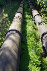 Two large black water pipes, converging in distance.