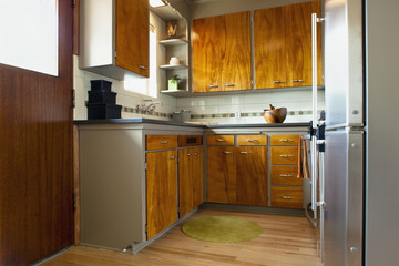 Kitchen with wooden cupboards