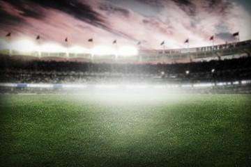 World. Football, soccer match. Grass close up. Night event