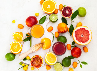 fresh citrus fruits and juices