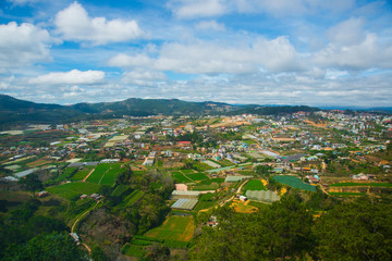 View birds eye view of the city of da lat in Vietnam