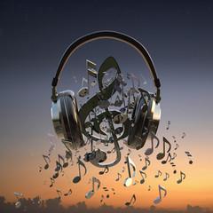 Headphones blaring musical notes