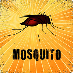 Mosquito, blood filled, gold ray grunge background