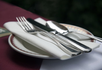 Close up of silverware and cloth napkin on fine china