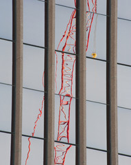 Distorted Reflection of a Tower Crane