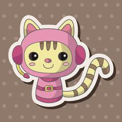 Space cat cartoon theme elements