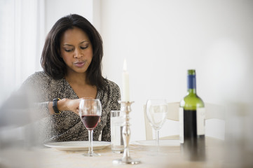 African American woman waiting for date