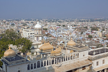 Skyline of Udaipur with City Palace in Foreground