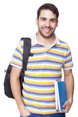 Smiling happy student standing on white background