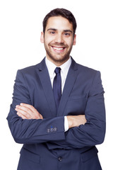 Portrait of a happy smiling business man, isolated on white back
