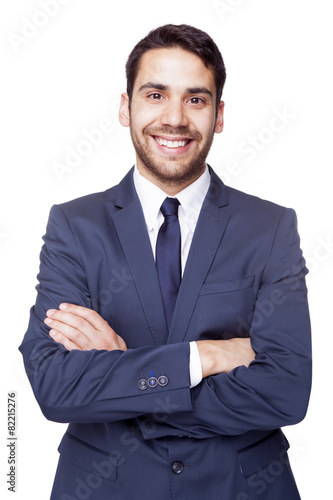 Portrait of a happy smiling business man, isolated on white back - 82215276