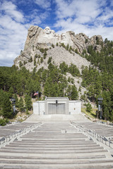 Mount Rushmore overlooking amphitheater, Black Hills, South Dakota, United States