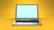Front View Of Laptop On Yellow Background