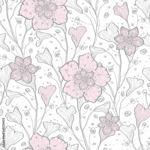 Fototapeta na wymiar Vector magical lace flowers seamless pattern background