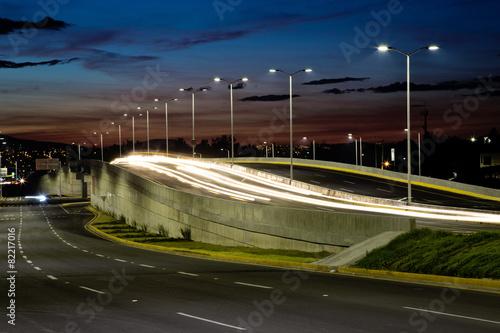Foto op Aluminium Nacht snelweg Street lights at night.