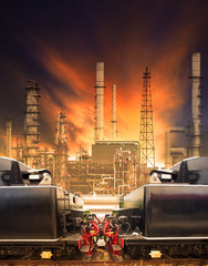 industrial trains and railways against heavy petrochemical indus