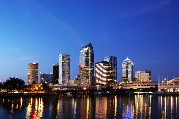 Cityscape at night, Tampa, Florida, United States
