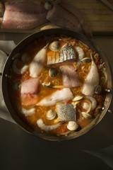 Pot of Chesapeake Bay bouillabaisse
