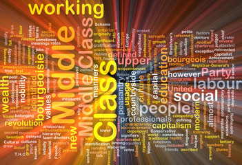 Middle class  background wordcloud concept illustration glowing