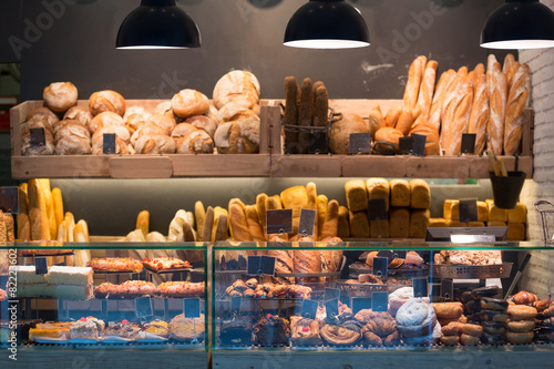 Foto op Canvas Bakkerij Modern bakery with different kinds of bread
