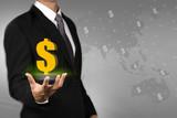 Businessman showing money transfer around the world