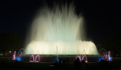 Evening view at colorful vocal fountain Montjuic