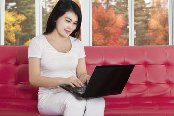 Attractive woman using notebook on couch