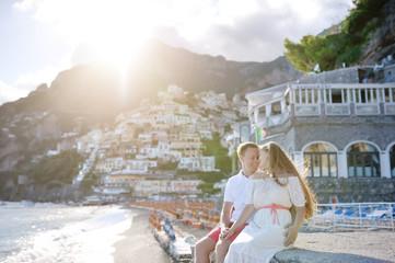 young couple near beach, Positano, Amalfi coast, Italy
