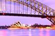 Leinwanddruck Bild - View of Sydney Harbor at twilight