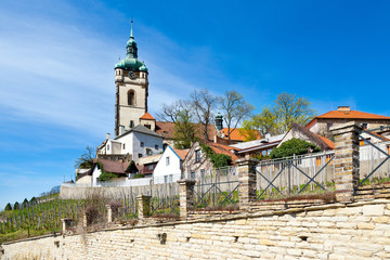 St. Petr and Paul church, vineyards, town Melnik, Czech republic