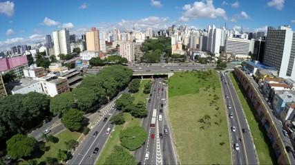 Aerial View of the Avenue 23 de Maio in Sao Paulo, Brazil