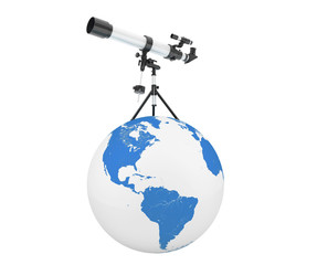 Silver Telescope on Tripod over Earth Globe